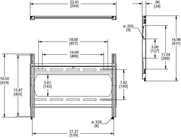 Technical Drawing for Premier P2642F Low Profile Flat Panel Wall Mount
