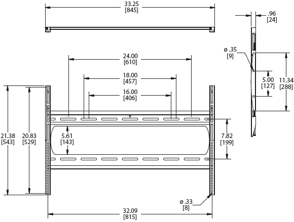 Technical Drawings for Premier P4263F Low Profile Flat Panel Wall Mount