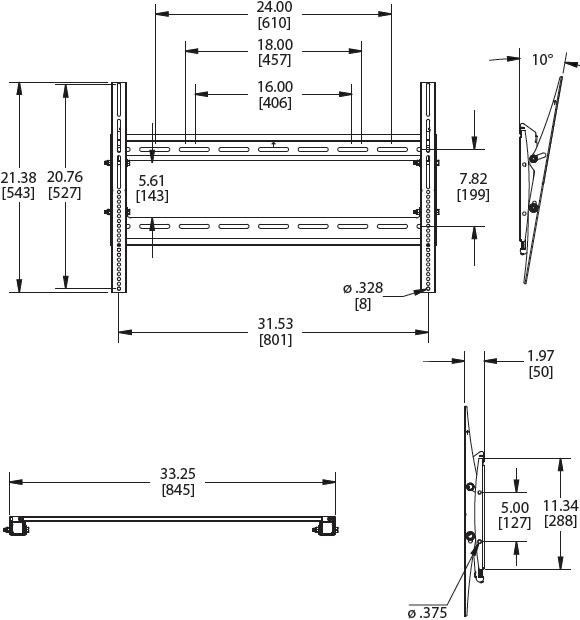Technical Drawing for Premier P4263T Flat Panel Tilting Low-Profile Wall Mount
