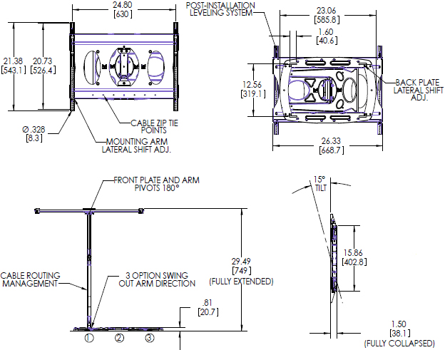 Technical Drawing for Premier AM100 Low-Profile Ultra-Slim Swingout Mount