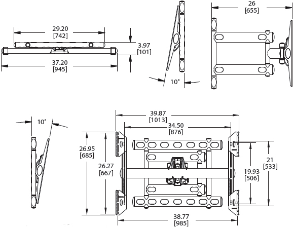 Technical Drawings for Premier AM300 Articulating Swingout Wall Mount Arm