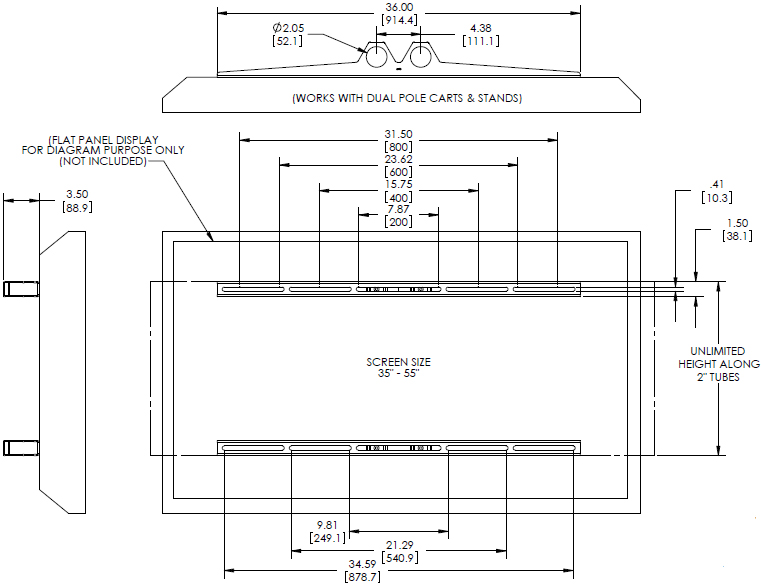 Technical Drawing for Premier UFA Flat Mount for Dual-Pole Carts and Stands