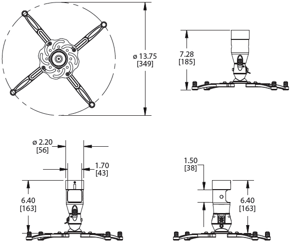 Technical Drawings for Premier MAG PRO or MAG PRO W Universal Projector Mount