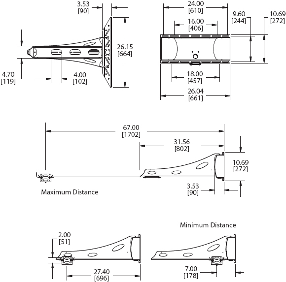 Technical Drawings for Premier UNI-EXT or UNI-EXB Short Throw Projector Mount