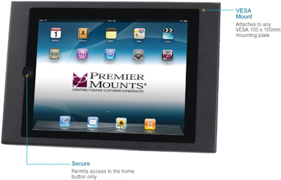 Premier IPM-100 Secure Protected VESA (100x100 mm) Mounting iPad Frame IPM100