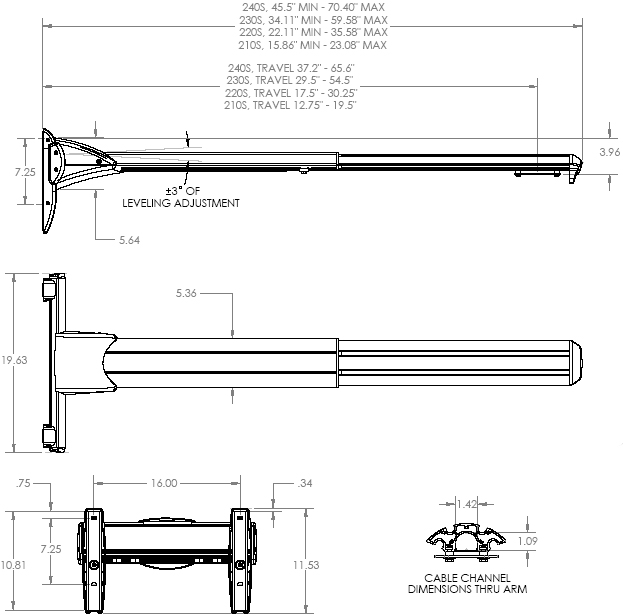 Technical Drawing of Chief WM210S Ultra Dual Stud Short Throw Wall Mount Extension Arm