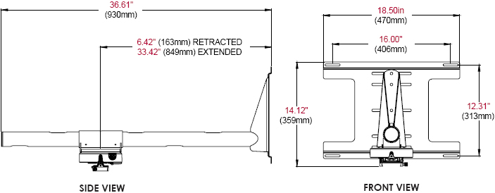 Technical Drawing of Peerless PSTK-028 Ultra Short Throw Projector Kit