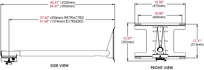 Technical Drawing of Peerless PSTK-2955 Short Throw Projector Kit