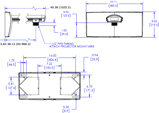 Technical Drawing for Chief WP22US Short Throw and Universal Projector Mount Kit
