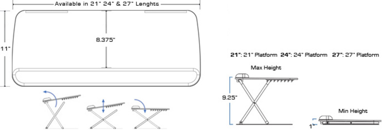 Technical drawing for SpaceCo SL021 or SL024 or SL027 Scissor Lift Keyboard Platform