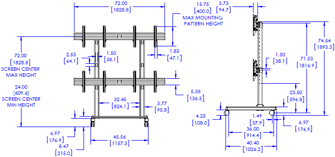 Technical Drawing of Chief FUSION 2x2 Large Freestanding Video Wall