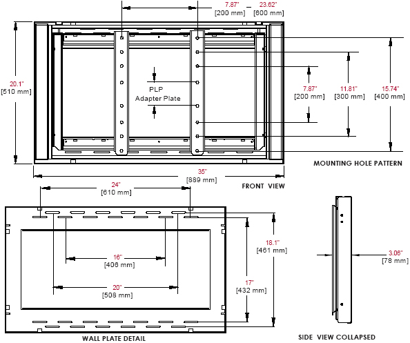 "Technical Drawing for Peerless DS-VW660 Flat Video Wall Mount for 40"" to 65' Displays"