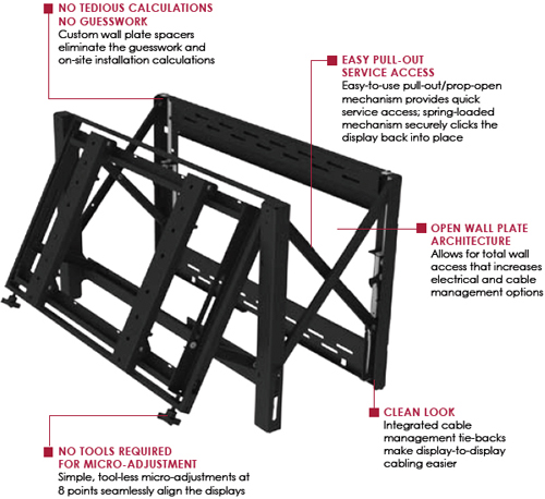 "Peerless DS-VW760 Full service Video Wall Mount for 40"" to 65"" Displays"
