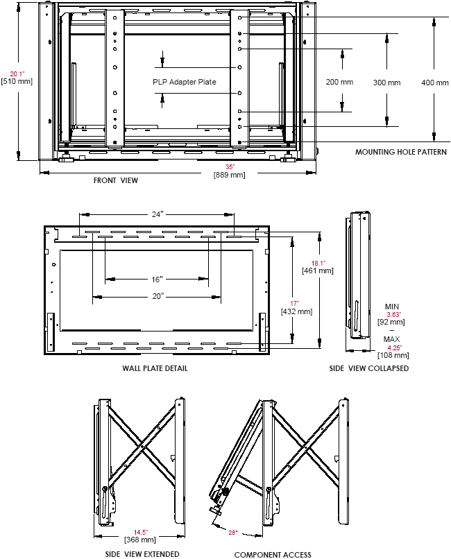"Technical Drawing for Peerless DS-VW760 Full Service Video Wall Mount for 40"" to 65' Displays"