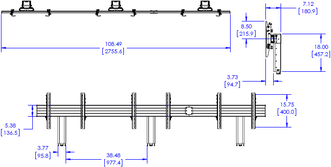 Technical Drawing for Chief FCA3X1U FUSION LVM 3x1 Accessory