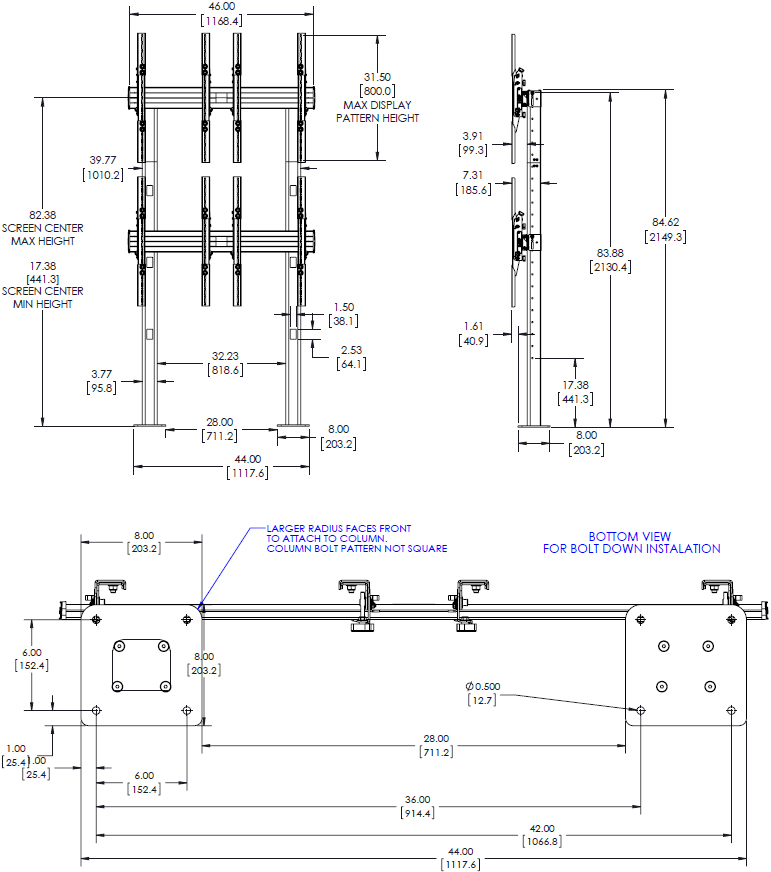 Technical Drawing for Chief LBM2X2UP FUSION 2x2 Portrait Large Bolt-Down Freestanding Video Wall