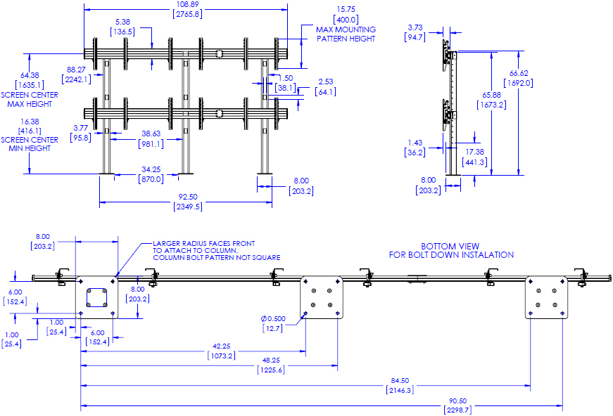 Technical Drawing for Chief LBM3X2U FUSION 3x2 Large Bolt Down Freestanding Video Wall