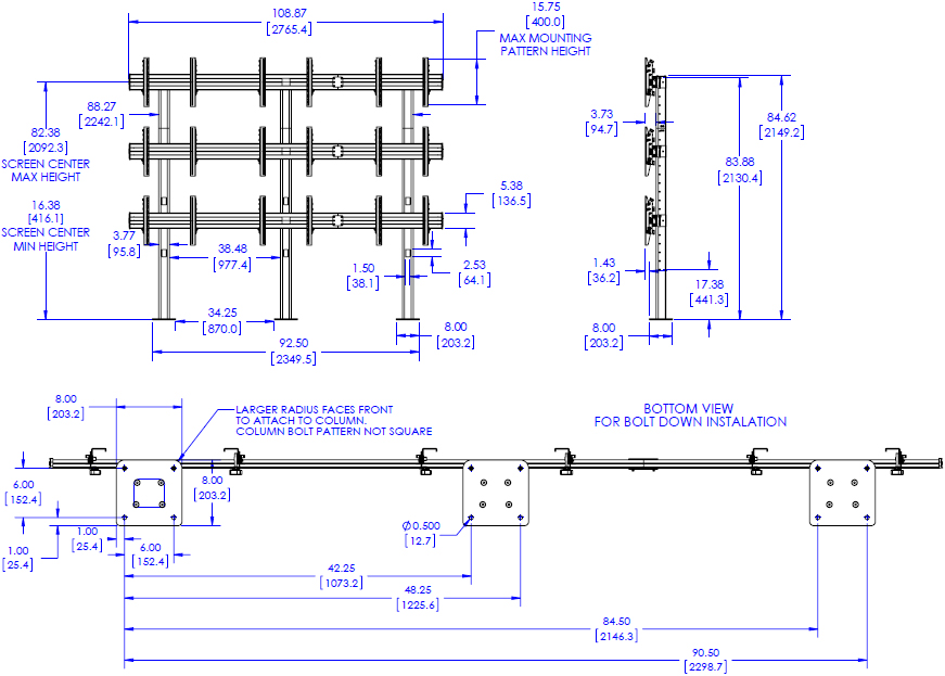 Technical Drawing for Chief LBM3X3U FUSION 3x3 Micro Adjustable Large Bolt Down Freestanding Video Wall