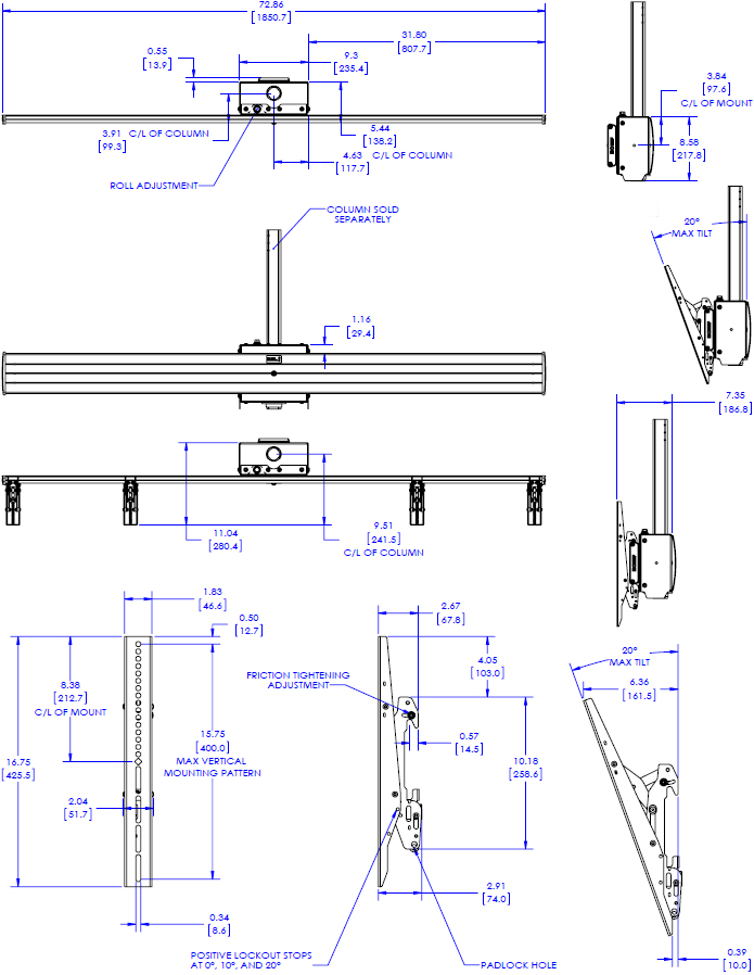 Technical drawing for Chief LCM2X1U FUSION Large Ceiling Mounted 2x1 Menu Board