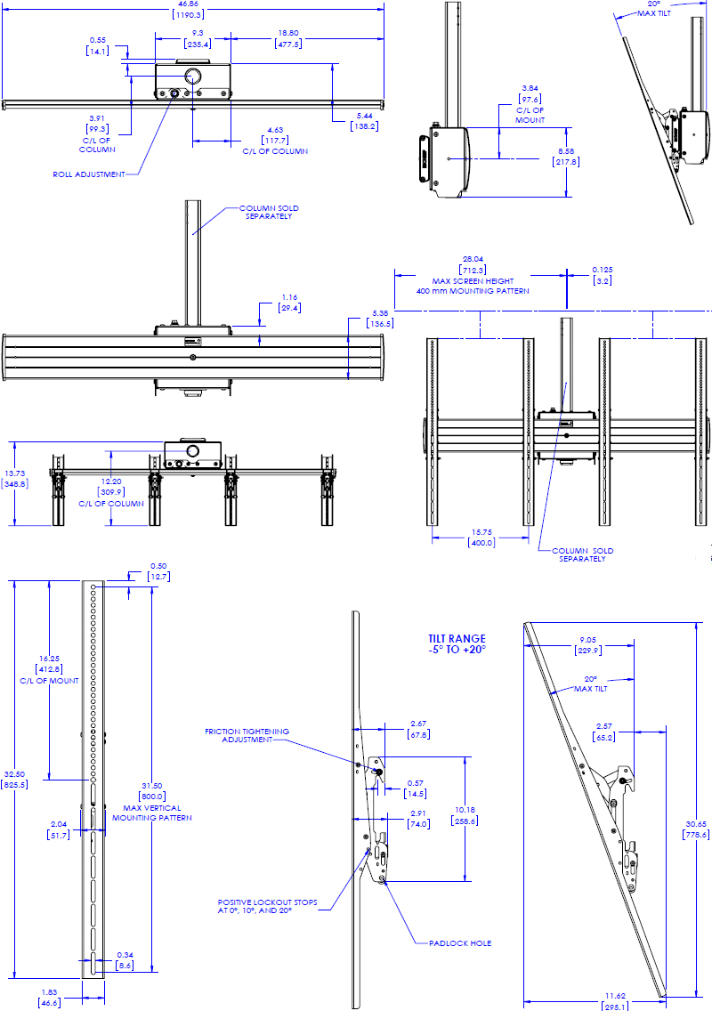 Technical drawing for Chief LCM2X1UP FUSION Large Ceiling Mounted Portrait Menu Board