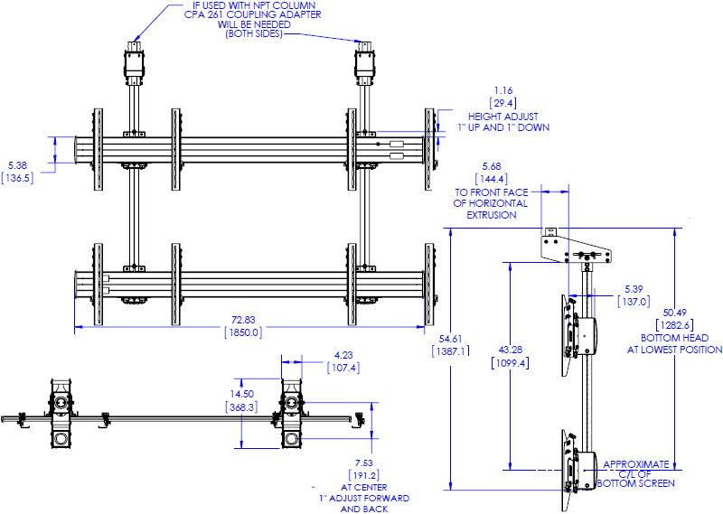 Technical Drawing for Chief LCM2X2U FUSION Micro Adjustable Large Ceiling Mounted 2x2 Video Wall