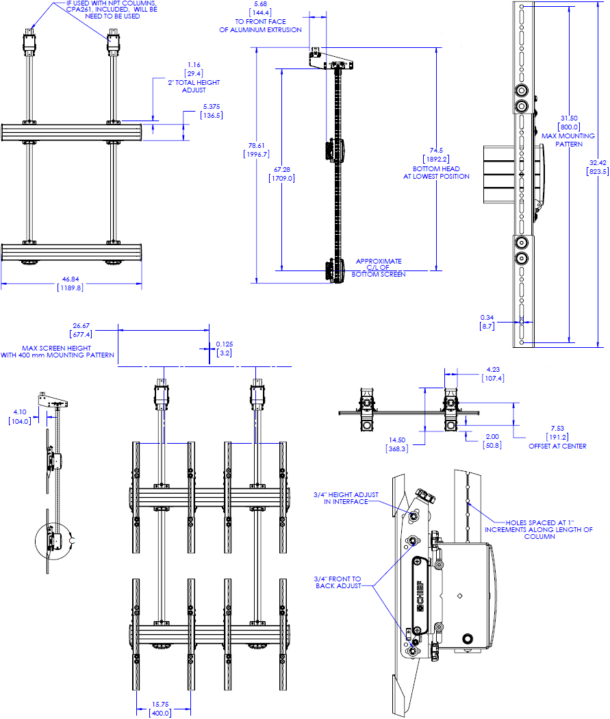 Technical drawing for Chief LCM2x2UP Portrait Large Ceiling Mounted 2x2 Video Wall