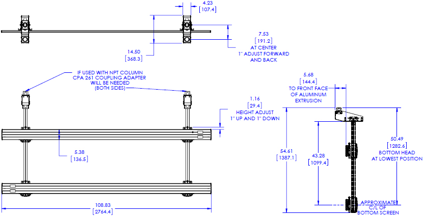 Technical Drawing for Chief LCM3X2U FUSION Micro Adjustable Large Ceiling Mounted 3x2 Video Wall