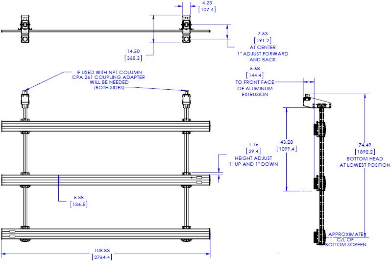 Technical Drawing for Chief LCM3X3U FUSION Micro Adjustable Large Ceiling Mounted 3x3 Video Wall