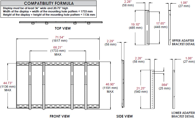 Technical Drawing for Peerless DS-VW646-2x2 - 2x2 Video Wall Mounting Kit