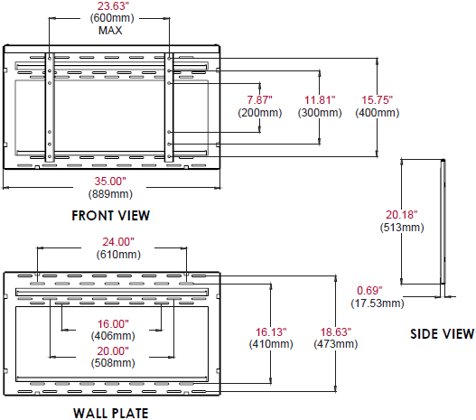 Technical Drawing for Peerless DS-VW650 Ultra Thin Flat Video Wall Mount