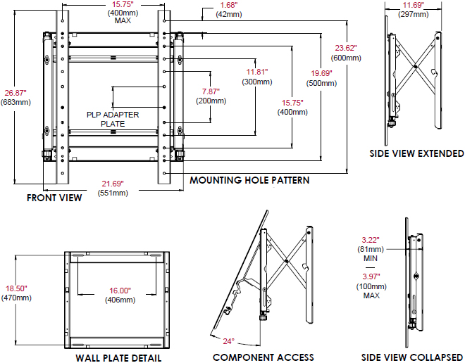 Technical Drawing for Peerless DS-VW765-POR Full Service Portrait Video Wall Mount