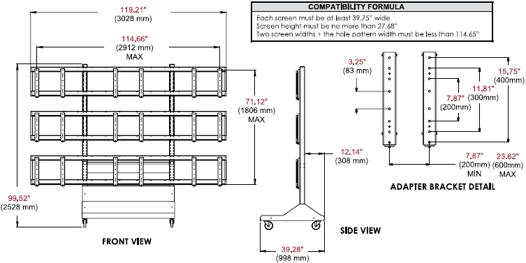 Technical Drawing for Peerless DS-VWC655-3x3 Digital Signage Video Wall Cart