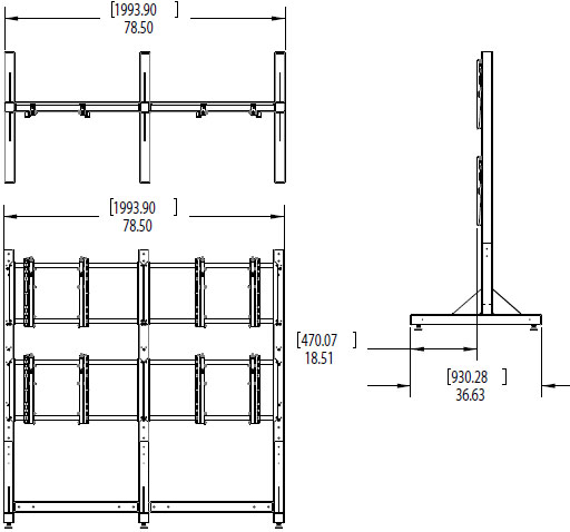 Technical Drawing for Premier MVWS-2x2-4655 Modular 2x2 Video Wall Stand