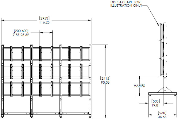 "Technical Drawing for Premier MVWS-3x3-46 Modular 3x3 Video Wall Stand for 46"" Diaplay"