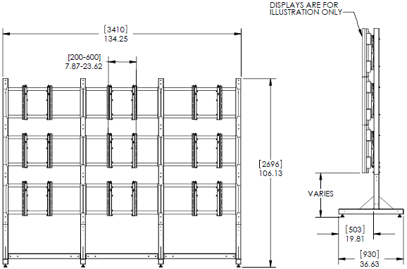 Technical Drawing for Premier MVWS-3x3-55 Modular 3x3 Video Wall Stand