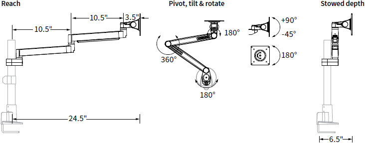 Technical drawing for Workrite CONF-1SDS-WOPB-S Conform Single Static Monitor Arm