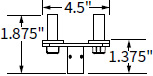 Technical drawing for Workrite CONF-ADPT-DA-S Dual Arm Adaptor