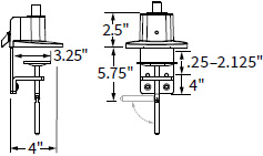 Technical drawing for Workrite CONF-BSE-TPCCG-S Conform 2 Piece C-Clamp & Grommet Base
