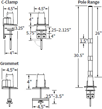 "Technical drawing for Workrite CONF-PB-28HDCCG-S 28"" Pole, HD C-Clamp & Grommet Base"