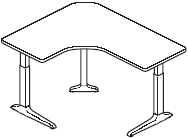 Sierra HX Offset Corner Right 3 Legs Table