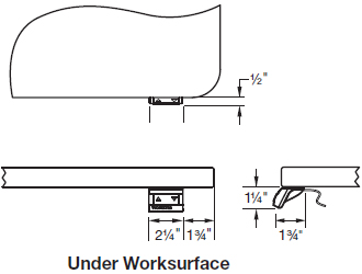 Up/down control located under front of worksurface