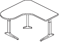Sierra HX Peninsula Left 3 Legs Table