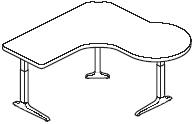 Sierra HX P Peninsula Right 3 Legs Table