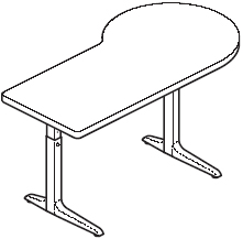 Sierra HX Pin P Peninsula 2 Legs Right Table