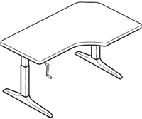 Workrite Sierra HXL Crank Offset Corner Left 2 Legs Table
