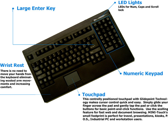 Adesso ACK-730UB or ACK-730PB Easy-Touch Keyboard with Touchpad Black