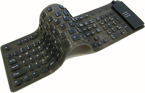 Adesso AKB230 Flexible Full-Sized Keyboard with USB and PS/2 Connection Black