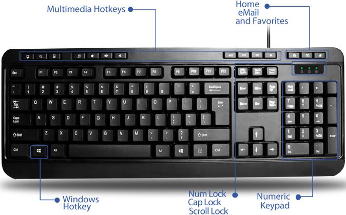 Adesso AKB-132UB Spill-Resistant Multimedia Desktop Keyboard