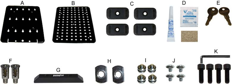 Components of AnchorPad 34196ARM Double Lockdown Plate