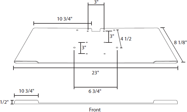 Technical drawing for AnchorPad AP-LSA Mouse Tray for 31177ARM Laptop Security Stand